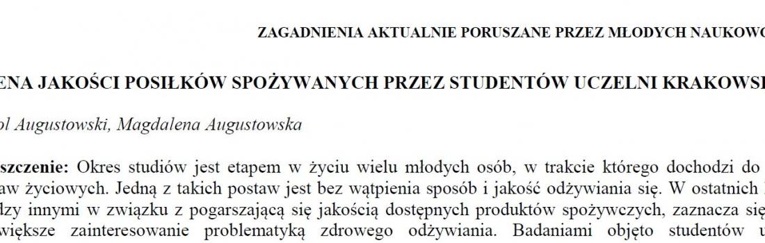 Ocena jakości posiłków spożywanych przez studentów krakowskich